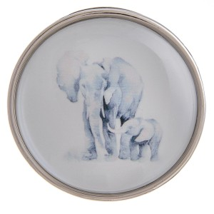 "Self adhesive silver elephant dome cell phone grip and stand.  - Approximately 1.5"" in diameter"