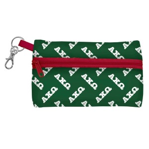 """ID Case-Alpha Chi Omega. Neoprene case is perfectly sized to hold your cell phone, cash, and cards with a clear PVC window on the back for your ID. Features contrasting colored zipper and clip-hook. Approximately 5 1/4"""" x 3 1/2""""."""