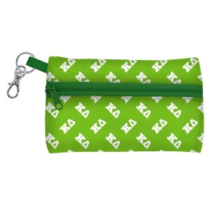 """ID Case-Kappa Delta. Neoprene case is perfectly sized to hold your cell phone, cash, and cards with a clear PVC window on the back for your ID. Features contrasting colored zipper and clip-hook. Approximately 5 1/4"""" x 3 1/2""""."""