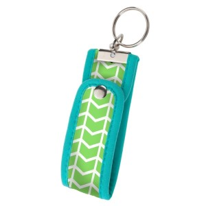Neoprene key fob keychain with a turquoise and lime green pattern. Perfect for monogramming!