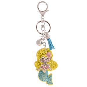 """Gorgeous mermaid keychain or bag charm with rhinestones.  Mermaid is 3"""" in length."""