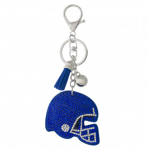 """Football helmet pillow keychain/bag charm featuring rhinestone details and a tassel accent. Helmet approximately 2"""". Approximately 5"""" in length overall."""