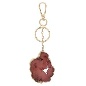 """Druzy keychain holder.  - Druzy varies in size - Approximately 2.75"""" in size - Approximately 7"""" in length"""