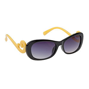 Keep the sun out of your eyes and look great while doing it with these cute black and yellow sunglasses.