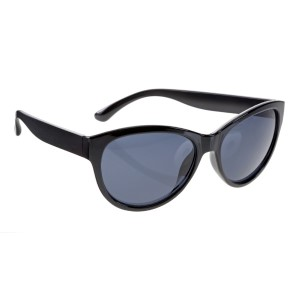 Black cateye style sunglasses with UV 400 protection lenses.