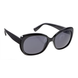 Black round style sunglasses with UV 400 protection lenses.
