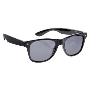 Black wayfarer style sunglasses with UV 400 protection lenses.