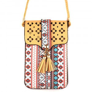"Aztec print cross body bag with clear phone window. W: 7"" x L: 4.5"" with a 35"" strap."