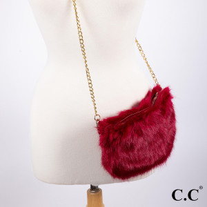 "BG-801: Faux fur C.C purse with gold tone chain. Approximately 9"" x 6"""