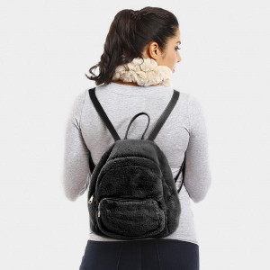 """Faux fur two pouch back pack.   - Approximately 13"""" x 9""""  - 100% Polyester"""