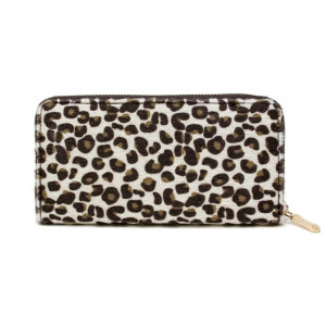 "Leopard print wallet with zipper closure. W: 7.5"" x L: 4.5"""