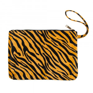 "Oversized zebra print wristlet. Approximately 12"" x 8"""