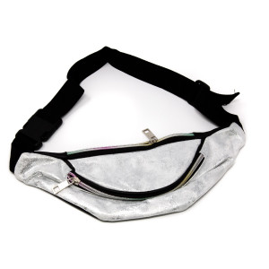 Metallic two pocket fanny pack.