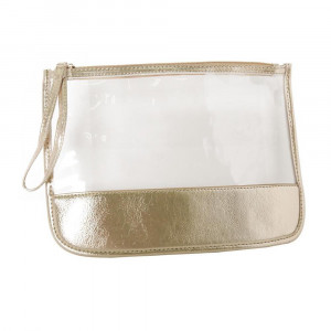 "Clear wristlet with faux leather detail. Approximately W: 9"" x L: 12"""