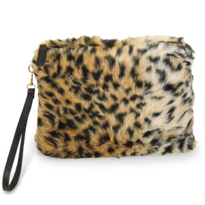 "Faux fur zip pouch with wristlet strap. 100% acrylic. 10"" x 8"""