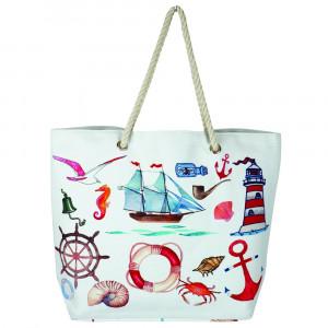 "Sea life beach hand bag. 20 1?4"" x 15 1?2"" x 5"""