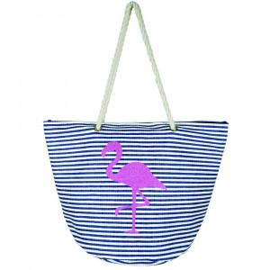 "Flamingo glitter stripe beach bag.  21""X15"" X14 1/4"" 95% STRAW, 5% COTTON"