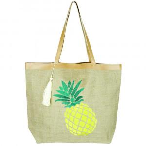 "Pineapple beach bag. 20 1/4""X15 1/2""X5"" 95% JUTE, 5% POLYESTER"