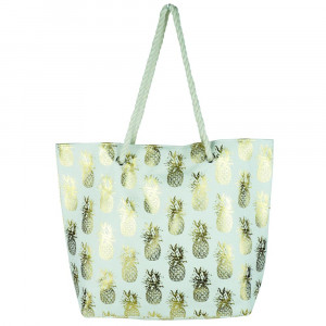 "Pineapple glitter beach bag. 20 1?4""X15 1?2""X5"" 60% cotton, 40% Polyester."