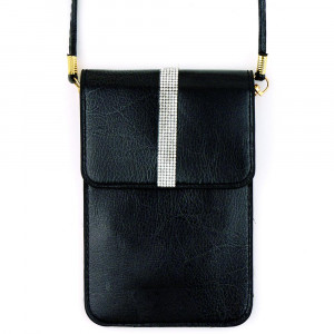 "Faux leather cross body bag with inside pocket and snap closure. Features a clear back pocket and rhinestones. Approximately 4 3/4"" x 7 1/4"" in size. 100% PU"