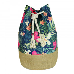"""Tropical floral tote bag with rope drawstring.  - Approximately 18.25"""" x 18.25"""" x 11"""" in size"""