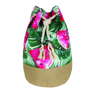 "Tropical watermelon beach bag. Measures approximately 18.25"" x 18.25"" x 11"" in size."