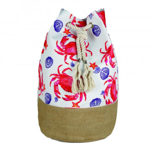 "Beach bag featuring crab print. Measures approximately 18.25"" x 18.25"" x 11"" in size."