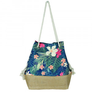 "Beach bag with tropical flower print. Measures approximately 20.5"" x 15.5"" x 7"""