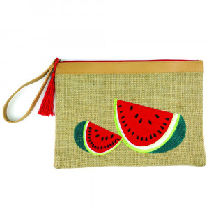"Watermelon embroidered pouch 95% JUTE, 5% POLYESTER. 7x5"" in length."
