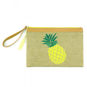 "Pineapple embroidered pouch 95% JUTE, 5% POLYESTER. 7x5"" in length."