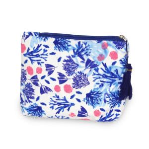 Coral pouch/ cosmetic bag. 8w X 6L.