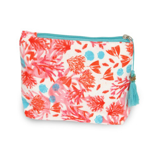 """Oriental floral travel pouch with tassel accent.  - Open inside - Zipper closure - Approximately 8"""" W x 6"""" T - 100% Cotton"""