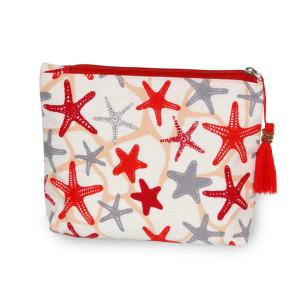 "Starfish beach travel pouch with tassel accent.  - Open inside - Zipper closure - Approximately 8"" W x 6"" T - 100% Cotton"
