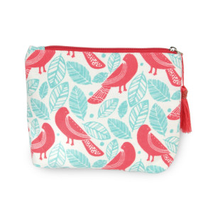 """Oriental bird travel pouch with tassel accent.  - Open inside - Zipper closure - Approximately 8"""" W x 6"""" T - 100% Cotton"""