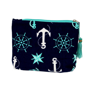 "Nautical travel pouch with tassel accent.  - Open inside - Zipper closure - Approximately 8"" W x 6"" T - 100% Cotton"