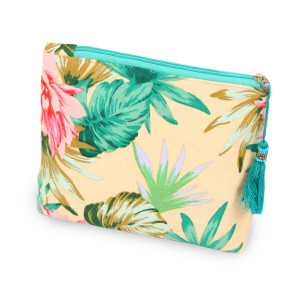 "Tropical florescent travel pouch with tassel accent.  - Open inside - Zipper closure - Approximately 8"" W x 6"" T - 100% Cotton"