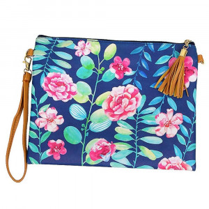 "Flower cross body/ clutch with 2 straps. Pu exterior-Polyester interior. 10"" x 8"" in length. Hangs 27"" off shoulder."