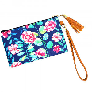 "Flower wallet/ clutch with wristlet. Pu exterior- Polyester interior. 7x5"" in length."