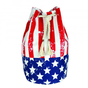"Beach bag featuring American flag print. Measures approximately 18.25"" x 18.25"" x 11"" in size."