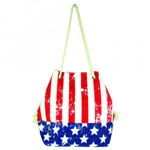 "Distressed American Flag tote bag with rope handles.  - Approximately 20.5"" x 15.5"" x 7"""