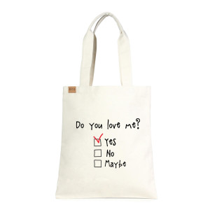 "Eco friendly bag with ""Do you Love Me"" message. 100% Cotton. 13"" x 15"" in length."