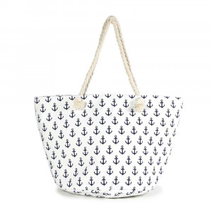 "Canvas tote bag with an anchor pattern, top zipper closure, rope handles and a lining inside with pockets. 35% cotton and 65% polyester. Measures approximately 21"" x 13"" in size."