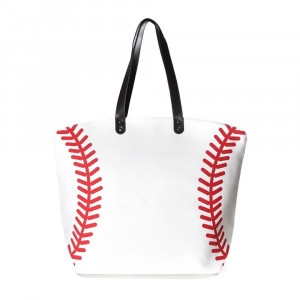 """Baseball tote bag is perfect for tailgating and monogramming.    - Open lined inside with pockets - Snap button closure - Approximately 21"""" W x 16"""" T - Handles 10"""" L - 80% Cotton, 20% Polyester"""