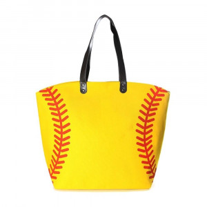 """Softball tote bag is perfect for tailgating and monogramming.    - Open lined inside with pockets - Snap button closure - Approximately 21"""" W x 16"""" T - Handles 10"""" L - 80% Cotton, 20% Polyester"""