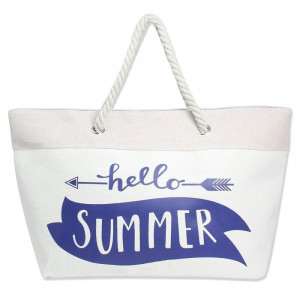 """Canvas tote bag with """"Hello Summer"""" message, top zipper closure, rope handles and a lining inside with pockets. 40% cotton and 60% polyester. Measures approximately 23"""" x 13"""" in size."""