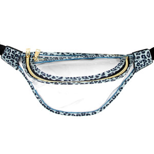 "Clear fanny pack with two zipper pouches. Measuring approximately 10"" x 6"" in size."