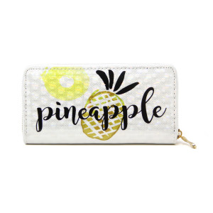 "Wallet with pineapple on the out side. coin zip with credit card holders on inside. Approximate 7X3"" in length.  Material 100% PVC."