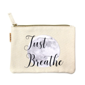 "Eco friendly pouch ""Just Breathe"". Measures 7"" x 6"" in size. 100% Cotton."