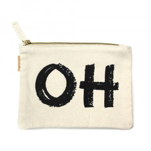 "Eco friendly pouch ""OH"". Measures approximately 7"" x 5"" in size. 100% Cotton."