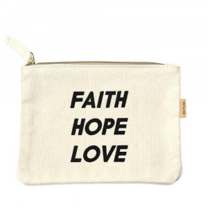 "Canvas zipper pouch ""Faith Hope Love"". Measures 7"" x 6"" in size. 100% Cotton."